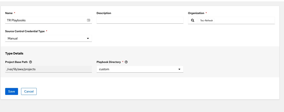 Creating a project in Ansible AWX